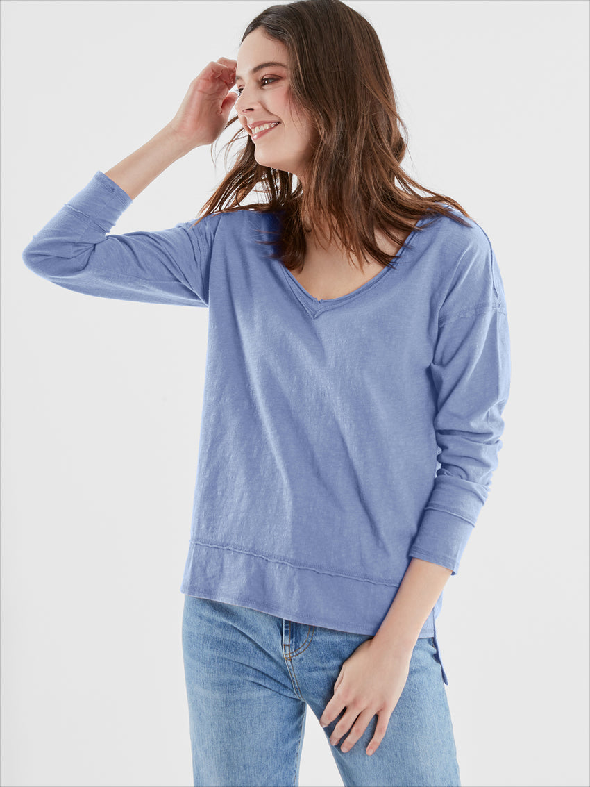 Cotton Slub Jersey V-Neck Long Sleeve T-Shirt