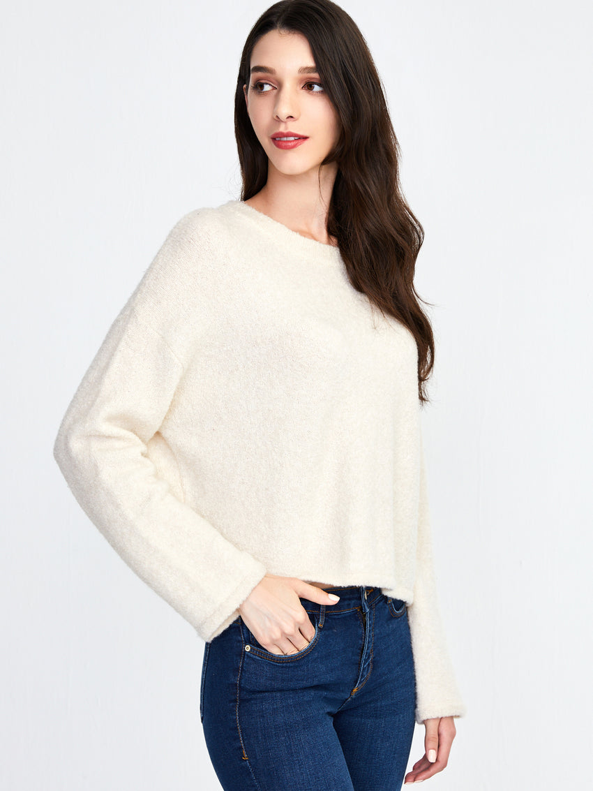 Cashmere Blend Kimono Sleeve Cropped Sweater