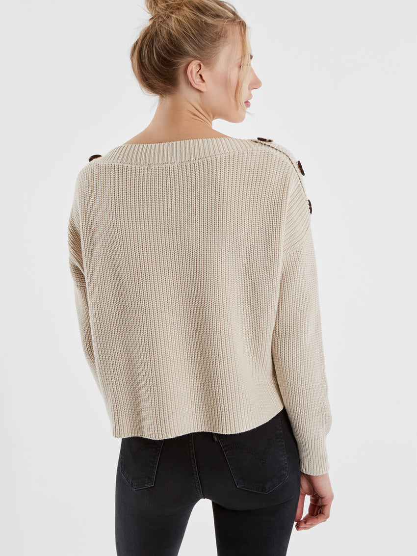 Cotton Shaker Button Trim Sweater