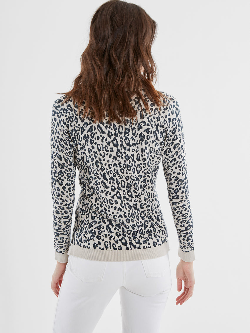 Leopard Print V-Neck Sweater