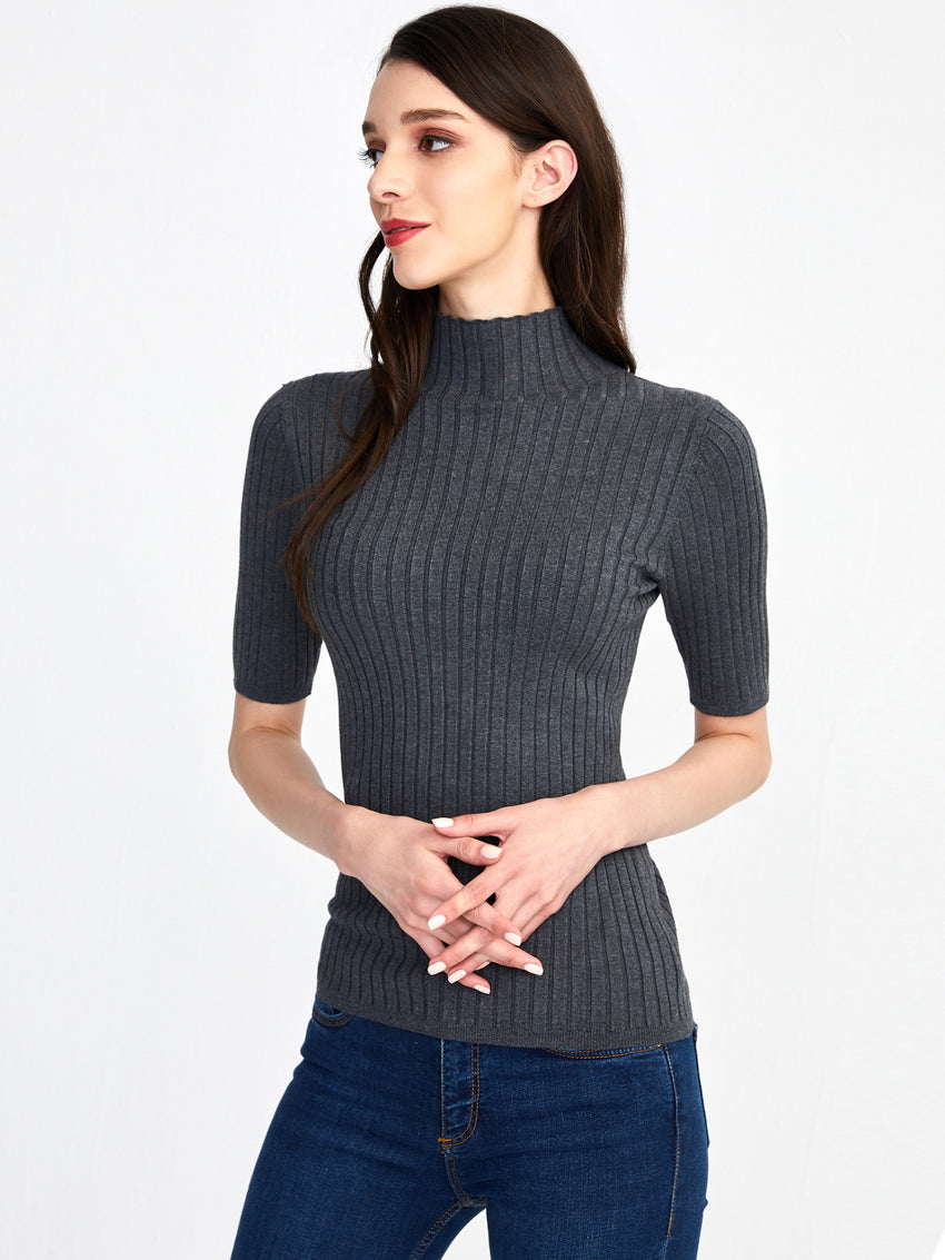 Ribbed Knit Mock Neck Short Sleeve Top
