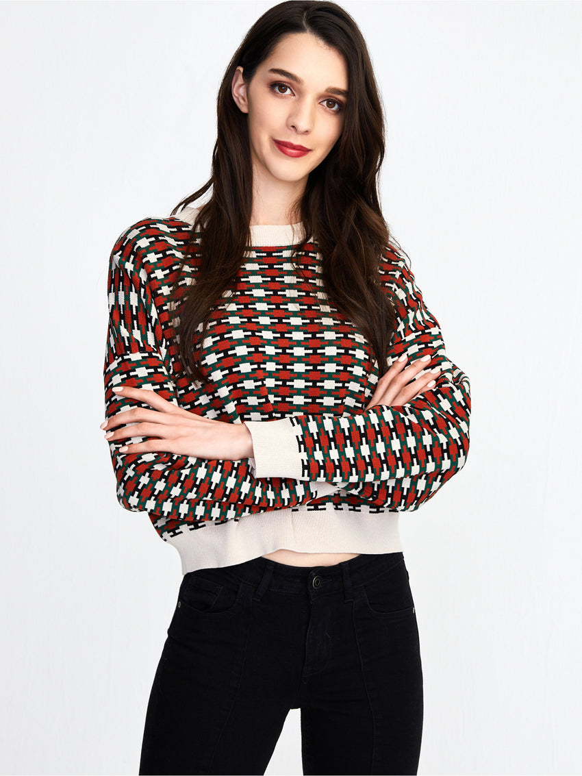 Wallpaper Jacquard Knit Cropped Sweater