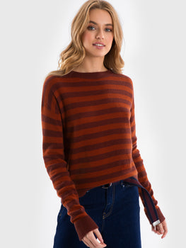 Cashmere Two-Tone Striped Crewneck Sweater
