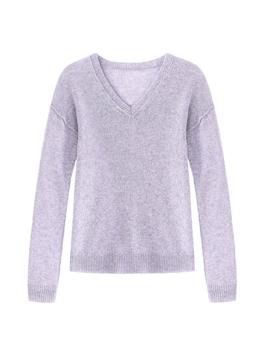Cashmere V-Neck Raised Seam Sweater