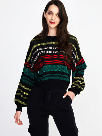 Brick Jacquard Knit Cropped Sweater