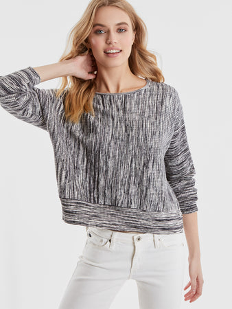 Space Dye Rib Knit Dolman Sleeve Top