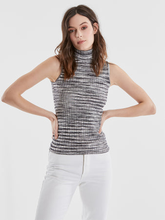 Space Dye Ribbed Knit Sleeveless Turtleneck