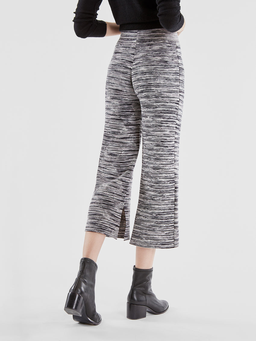 Space Dye Ribbed Knit Wide Leg Pants