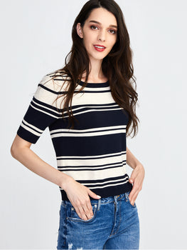 Striped Knit Short Sleeve Top