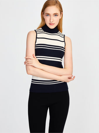 Striped Mock Neck Sleeveless Knit Top