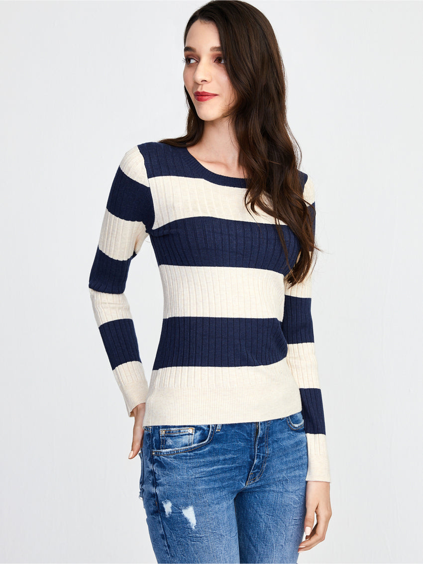 Ribbed Rugby Stripe Crewneck Top