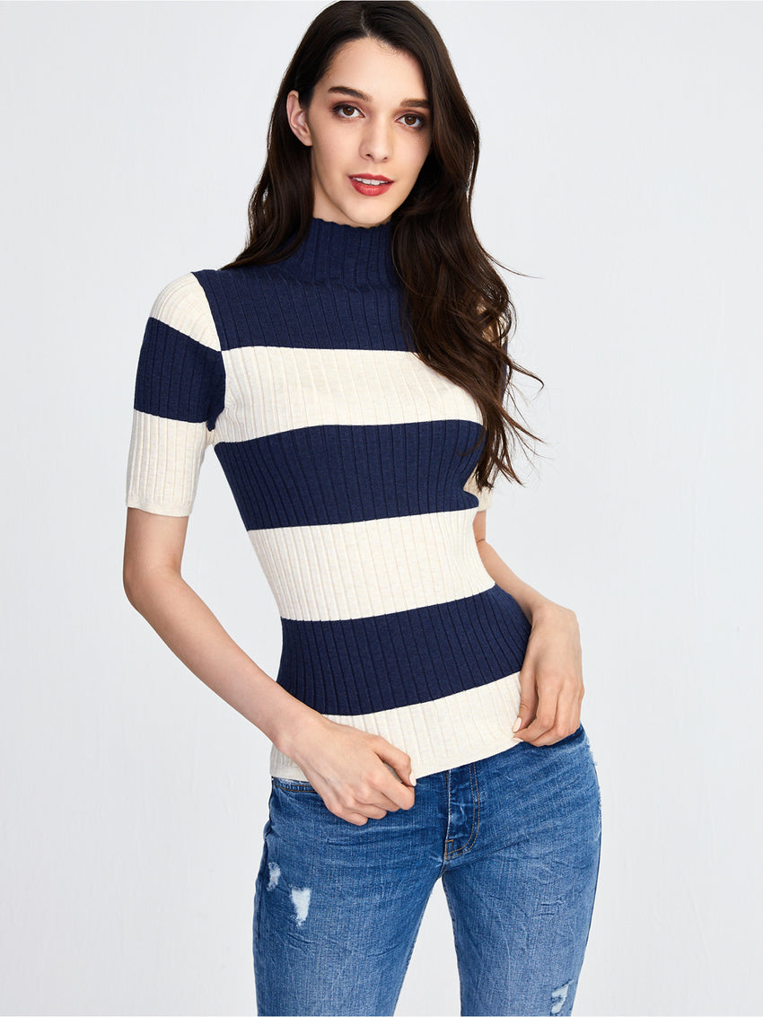 Ribbed Rugby Stripe Mock Neck Short Sleeve Top