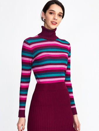 Lurex Stripe Ribbed Turtleneck