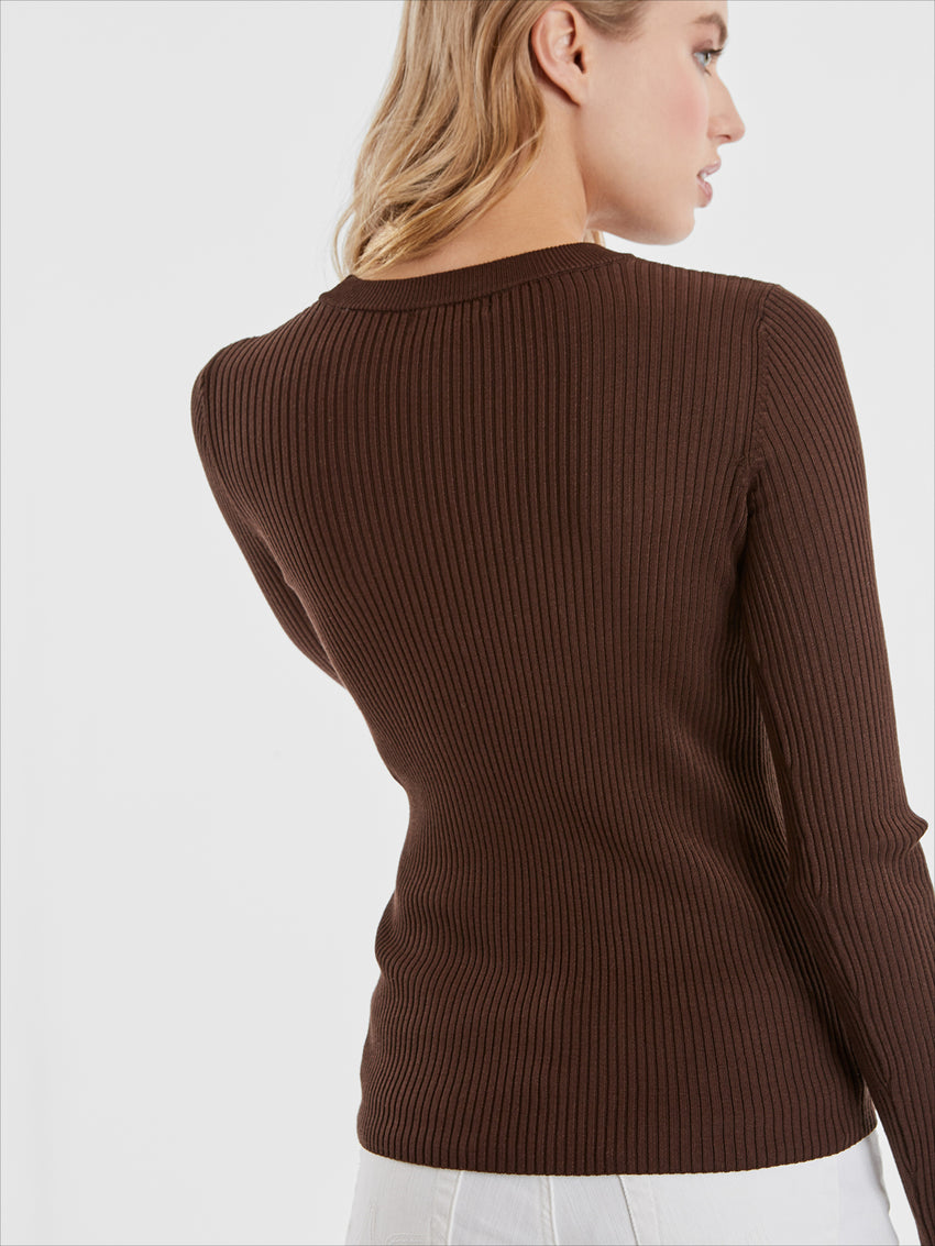Ribbed Knit Crewneck Top