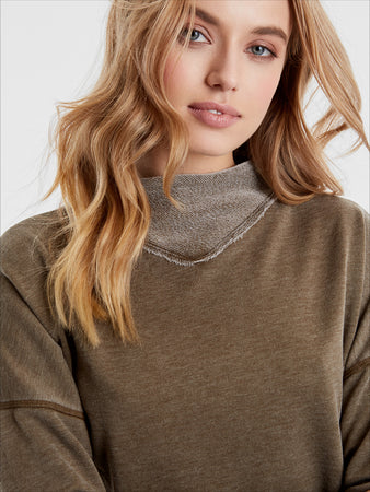 Distressed Wash Mock Neck Sweatshirt