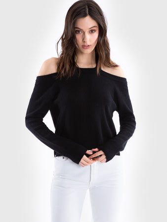 Cashmere Halter Cold Shoulder Sweater