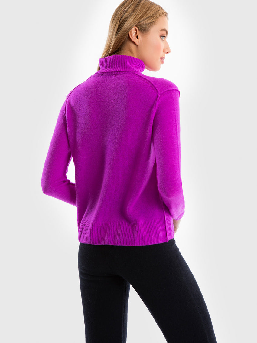 Cashmere Raised Seam Turtleneck Sweater