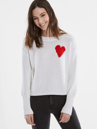 6e231b782c Graphic Heart Cotton Shaker Stitch Sweater