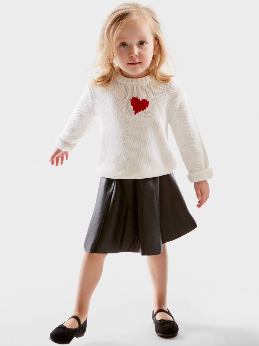 Graphic Heart Cotton Shaker Stitch Sweater