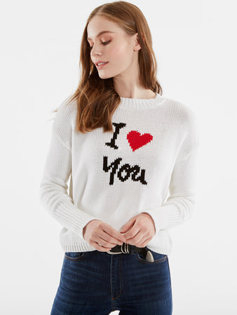 I Love You Cotton Shaker Stitch Sweater