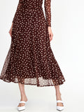 Stretch Mesh Polka Dot Midi Skirt