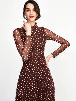 Stretch Mesh Polka Dot Turtleneck