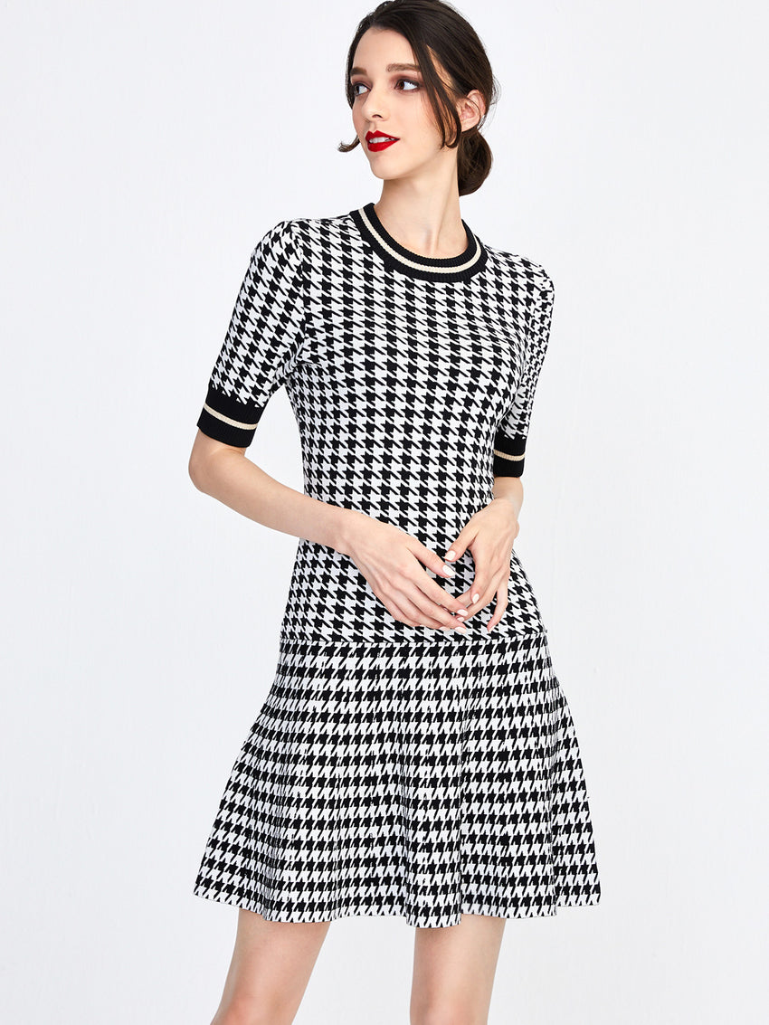 Houndstooth Lurex Drop Waist Dress