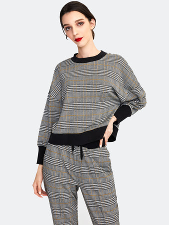 Glen Plaid Cropped Sweatshirt