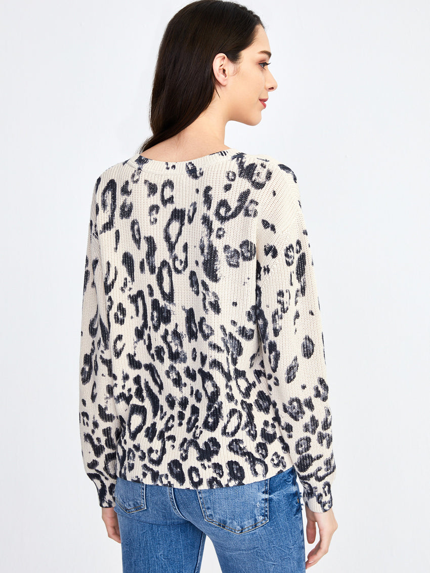 Cotton Shaker Leopard Print Sweater