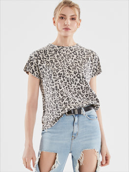 Leopard Print Cotton Slub Jersey Short Sleeve T-Shirt