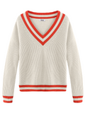 Varsity V-Neck Cropped Long Sleeve Sweater