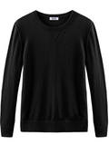 Cashmere Raised Seam Crewneck Long Sleeve Sweatshirt