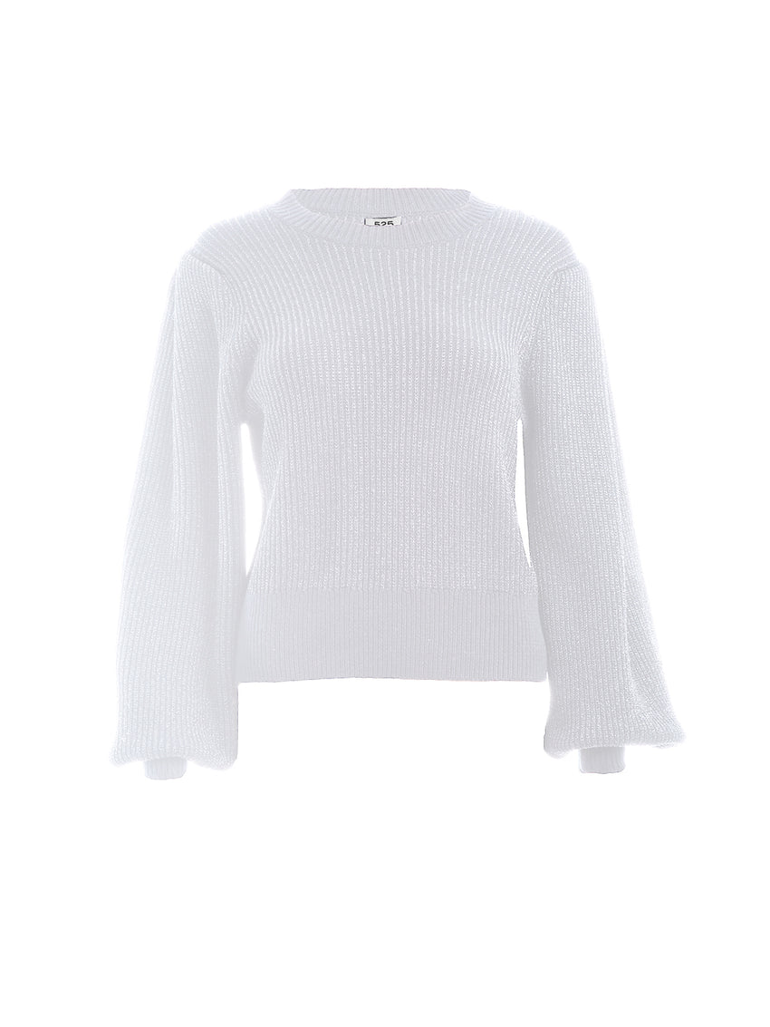 Brioche Lurex Crewneck Long Sleeve Sweater
