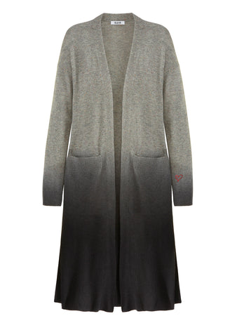 Cashmere Dip Dye Long Sleeve Cardigan