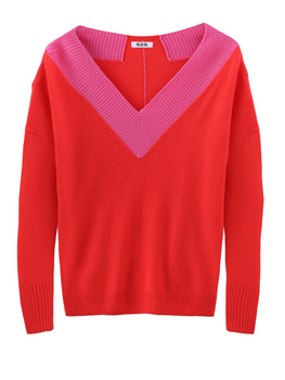 Cashmere Wide V-Neck Long Sleeve Sweater