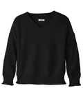 Wide Roll V-Neck Long Sleeve Sweater