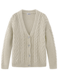 Mixed Cable Knit V-Neck Cardigan