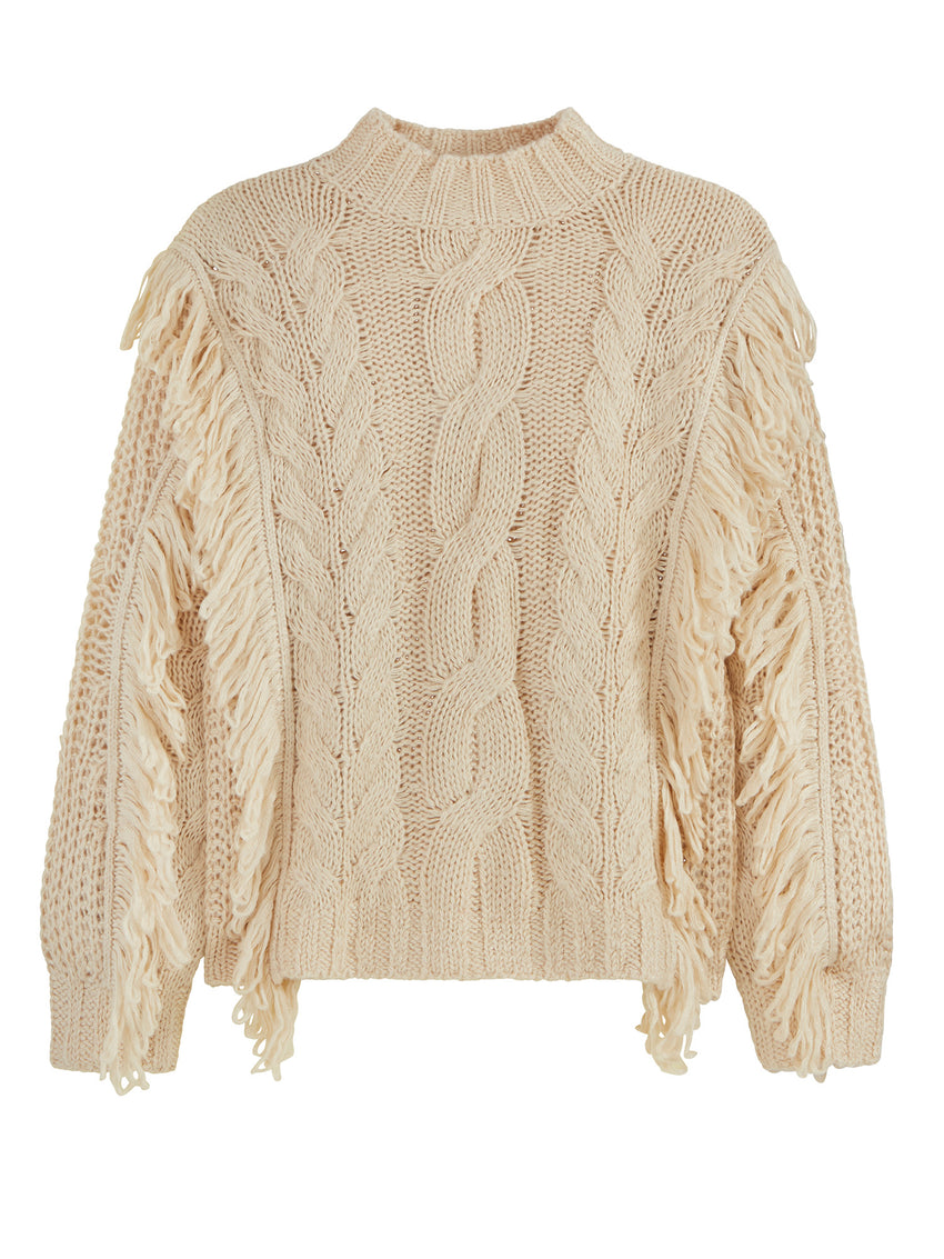 Cable Knit Long Sleeve Fringe Sweater