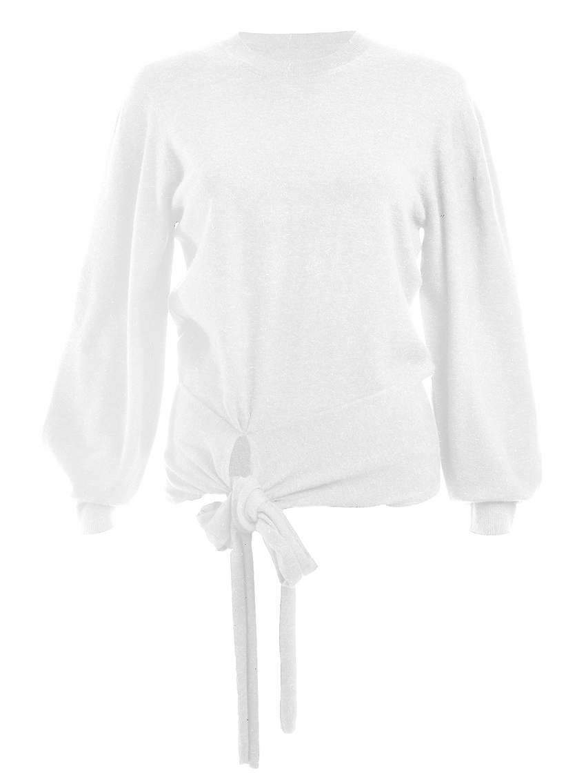 Tie Front Crewneck Long Sleeve Top