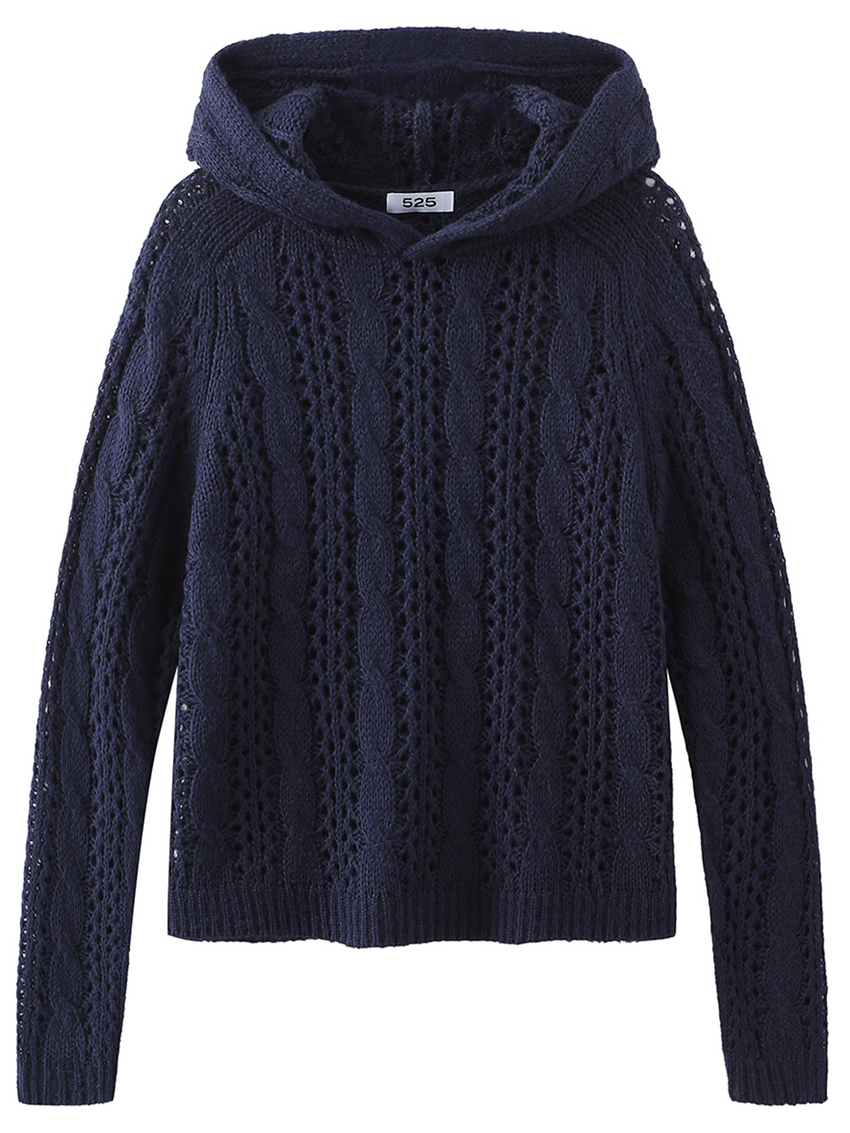 Cable Knit Pointelle Long Sleeve Hoodie
