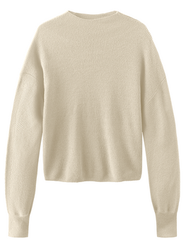 Bishop Sleeve Mock Neck Long Sleeve Sweater