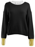 Crewneck Color Blocked Long Sleeve Sweater