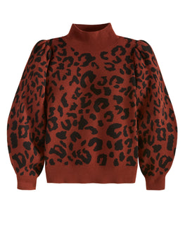 Leopard Print Mock Neck Puff Sleeve Sweater
