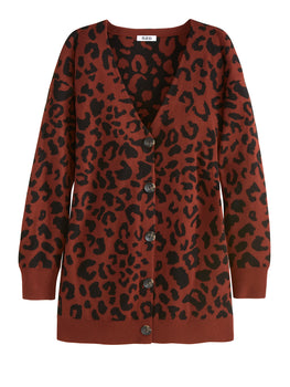 Leopard Print V-Neck Long Sleeve Cardigan