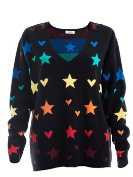 Hearts and Stars V-Neck Long Sleeve Sweater