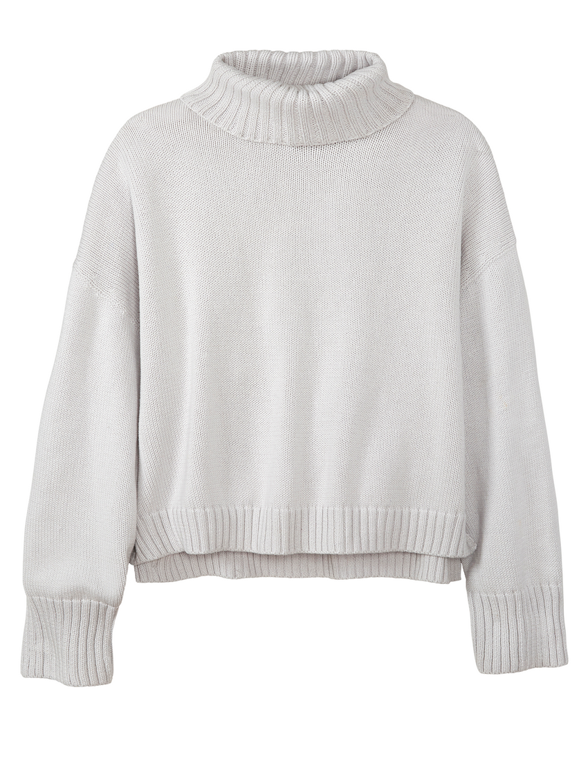 Ribbed Collared Long Sleeve Turtleneck