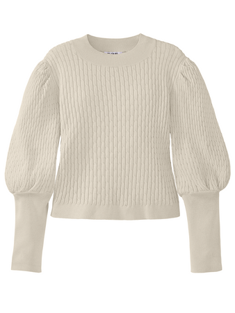 Cable Knit Puff Sleeve Crewneck Top
