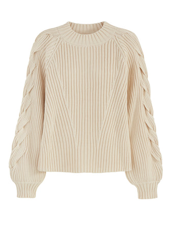 Braided Sleeve Cable Knit Crewneck Sweater