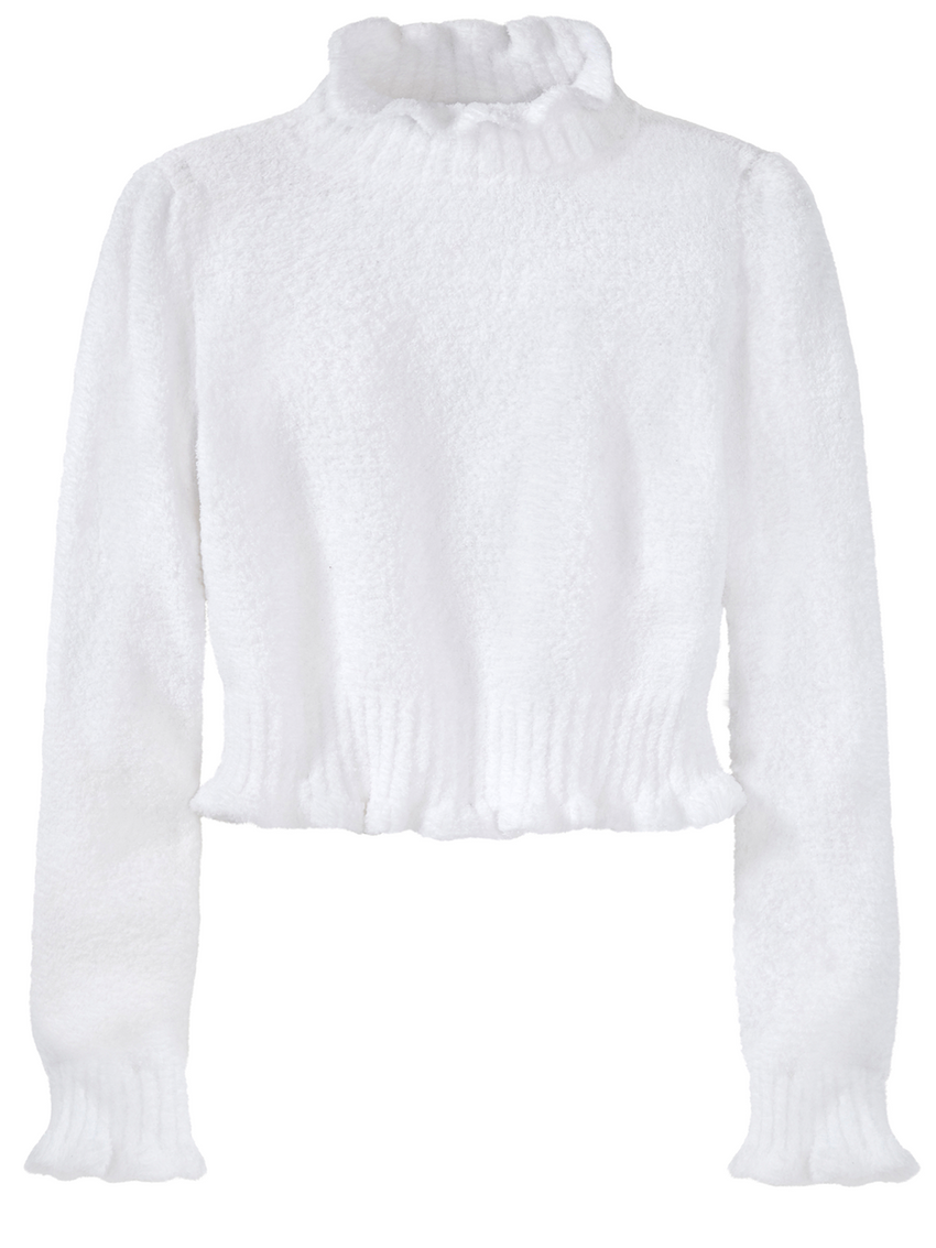 Cropped Ruffle Neck Long Sleeve Sweater