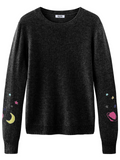 Galaxy Cashmere Crewneck Long Sleeve Sweater